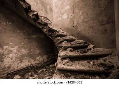 Broken stairs in abandoned building of Kemeri sanatorium. Jurmala, Latvia. Broken hopes and dreams. Abandoned building. Concrete walls and stairs. End of the world. Exclusive design. Vintage design.