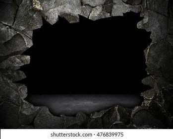 broken stone wall interior background