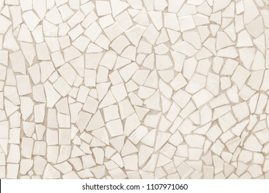 Broken tiles mosaic seamless pattern. White and cream the tile wall high resolution real photo or brick seamless and texture interior background.
