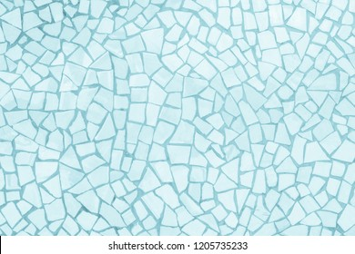 Broken tiles mosaic seamless pattern. Blue the tile wall high resolution real photo or brick seamless and texture interior background.