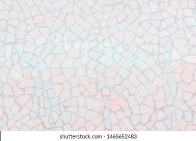 Broken tiles mosaic seamless pattern. Pink tile real wall high resolution real photo or brick seamless with texture interior background. Abstract wallpaper irregular in bathroom.