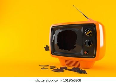 Broken TV isolated on orange background. 3d illustration