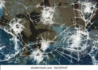 Broken tv screen, crashed