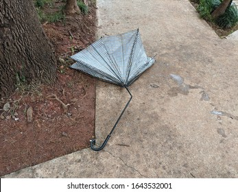 Broken umbrella left at sidewalk