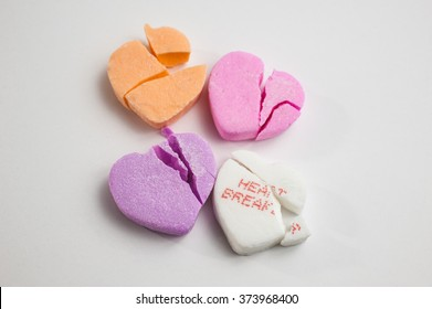 Broken Valentine's Day candy hearts