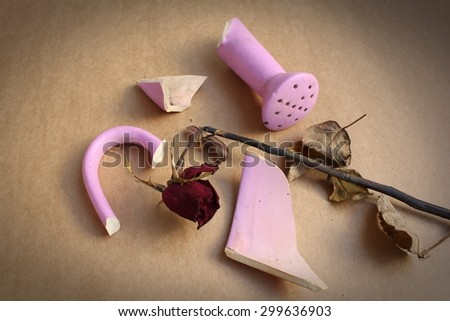 Broken Vase On Wooden Table Vintage Stock Photo Edit Now 299636903