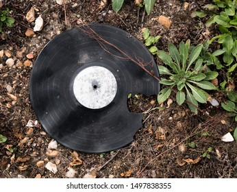Broken vinyl record in a field. Vinyl partly broken found in a wild dump in the suburbs of paris, near Poissy.
