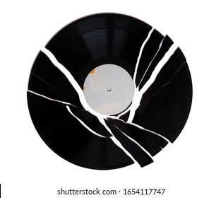 broken vinyl record vintage analog music recording medium