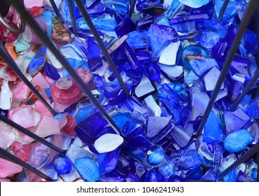 broken violet and pink glass