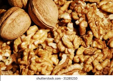broken walnut background