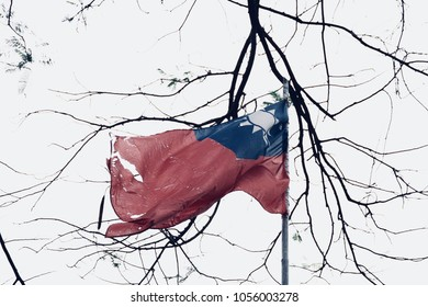 The broken, wear and tear national frag of Republic of China (ROC) which is defeated by People's Republic of China (PRC) in 1949 and now is the colonial regime in Taiwan island. The concept of destroy