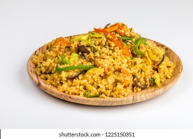 Broken wheat cereal cooked or dalia from indian cuisine served in a plate