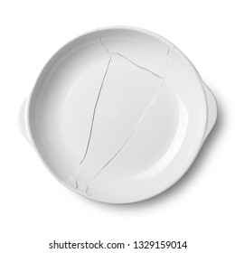 Broken white ceramic plate on a white floor and shadow with clipping path.