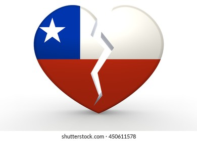 Broken white heart shape with Chile flag, 3D rendering