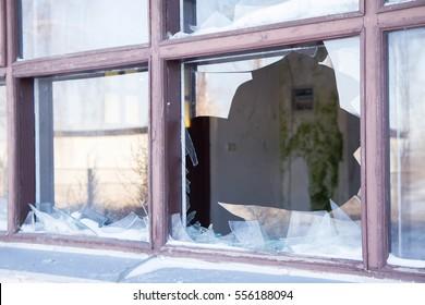 Broken window in close up