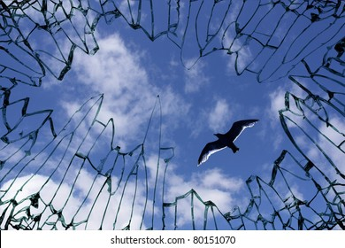 Broken Window glass with view to blue sky - symbol of longing for freedom