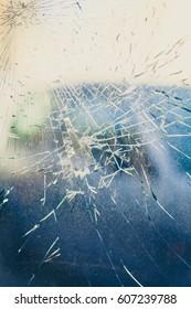 Broken window texture with blured background, vintage look