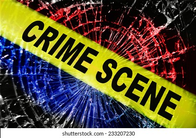 Broken window with yellow Crime Scene tape