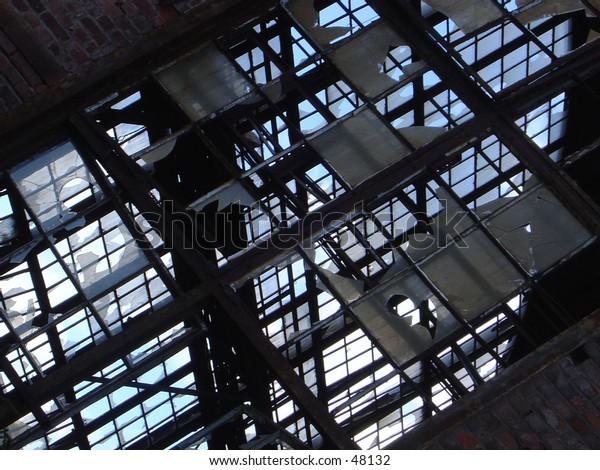 the broken windows of an ex factory