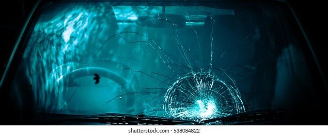 Broken windshield of a car