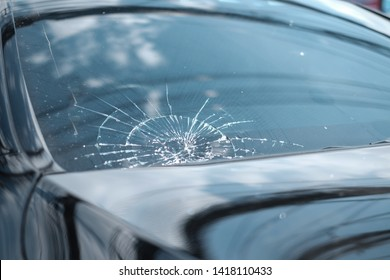 Broken Windshield from Car Accident