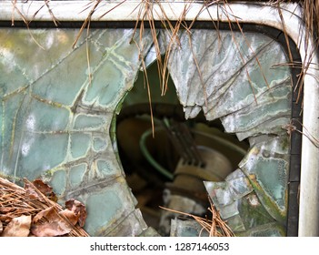 Broken Windshield on an Old Car in a Junk Yard covered in Pine Needles