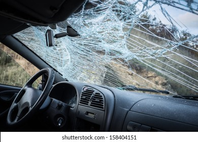 Broken Windshield-Car Crash