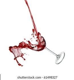 broken wine glass falling