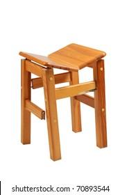 broken wooden chair on white background