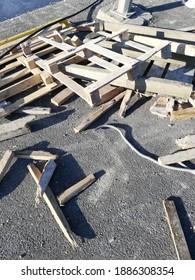 broken wooden pallet on the road