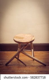 broken wooden stool in abandoned house