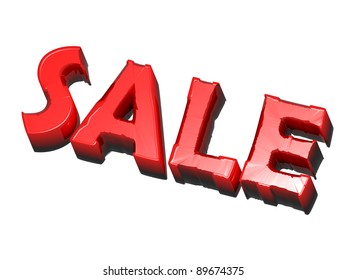 broken word - sale, red on white background