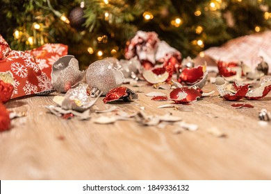 Broken and wrecked Christmas ornaments