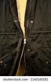 Broken Zipper Annoying Stuck Fabric Coat Jacket Gone Garment Texture Background Close Up