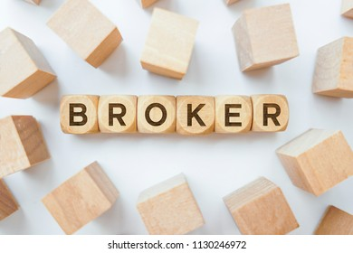 Broker word on wooden cubes