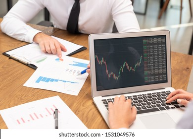 Brokers work in the office. Investments, multiplication of profits, finances concept
