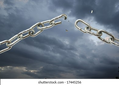 Broking chain on cloudy sky.