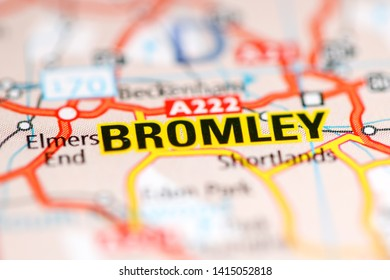 Bromley. United Kingdom on a geography map
