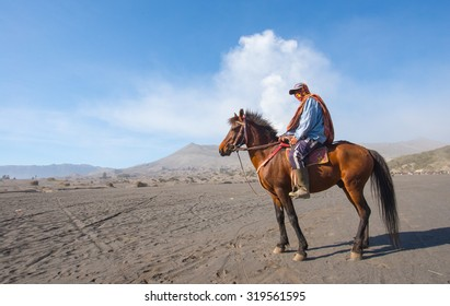 BROMO, INDONESIA - SEP 13: Unidentified worker sitting horse rental provide for tourists at Mount Bromo on SEP 13, 2015 in Java, Indonesia. Mount Bromo is one of the most visited tourist attractions