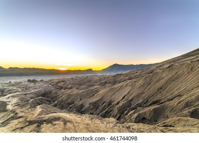 Bromo mount with sunrise background