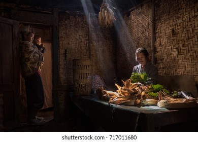 Bromo National Park, Probolinggo, East Java, Indonesia - July 14, 2017 : Inside a small farmers house (kitchen) of a Tengger family