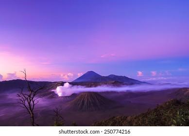 The Bromo volcano is hot valcano in sunrise time