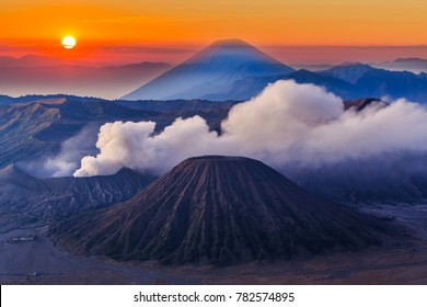 Bromo volcano at sunrise, Mount Bromo, is an active volcano, Tengger Semeru National Park, East Java, Indonesia.