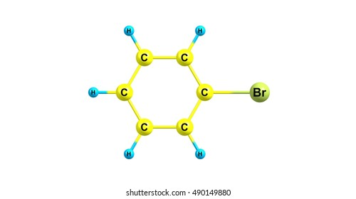 Bromobenzene is an aryl halide C6H5Br which can be formed by electrophilic aromatic substitution of benzene using bromine. It is a clear, colourless or pale yellow liquid. 3d illustration