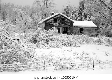 BROMONT QUEBEC CANADA 01 14 2014: Winter landscape with and old house after an ice storm  eastern townships Quebec Canada