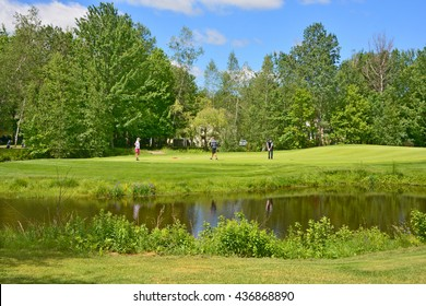 BROMONT QUEBEC CANADA 06 14 2016: Designed in 1992 by famous Graham Cooke, The Royal Bromont Golf Club offers an exceptional view of the surrounding mountains right in the heart of the City of Bromont