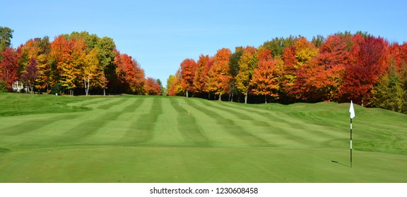 BROMONT QUEBEC CANADA 10 17 2016: Designed in 1992 by famous Graham Cooke, The Royal Bromont Golf Club offers an exceptional view of the surrounding mountains right in the heart of the City of Bromont