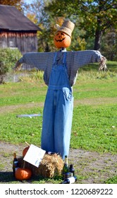 BROMONT QUEBEC CANADA 10 23 2018: Scarecrow at Les Epouvantables Bromont, is a fall season contest, that will bring the visitors back in time of the Old Village called West Shefford