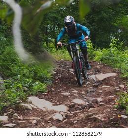 Bromont, Quebec / Canada - August 13 2017: mountain biking bromont