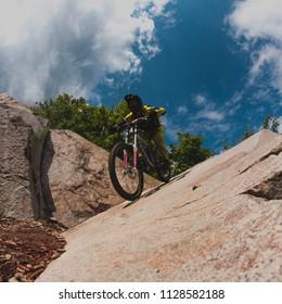 Bromont, Quebec / Canada - August 13 2017: Mountain bike in Bromont